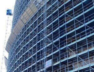 Scaffolding around building
