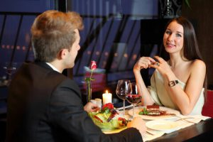 A Couple eating in an insured restaurant